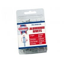 Faithfull Aluminium Rivets 3mm Short (Pack of 100)
